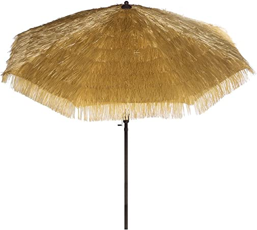Bayside-21 9 Feet Patio Umbrella Market Outdoor Table Umbrella with Auto Tilt and Crank Tiki Umbrella 9 Cranking Lift Tiki Thatched Hula Outdoor Patio Umbrella Natural color 9ft 8 Ribs