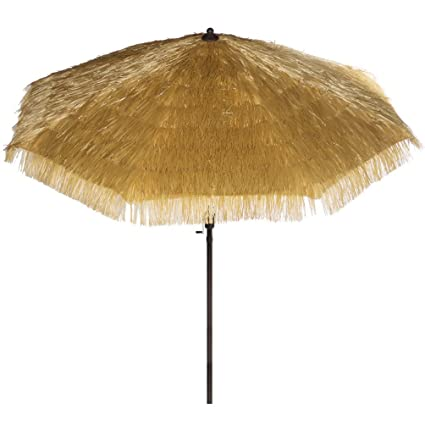 Beau Hawaiian Style Outdoor Umbrella 9 FT Round Outdoor Market Patio Umbrella  With Auto Tilt And Crank
