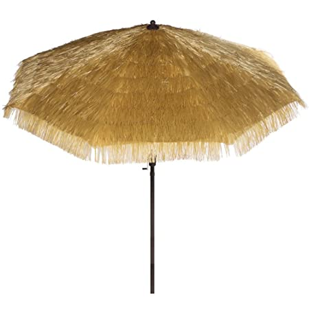 Bayside-21 9 Feet Patio Umbrella Market Outdoor Table Umbrella with Auto Tilt and Crank Tiki Umbrella 9 Cranking Lift Tiki Thatched Hula Outdoor Patio Umbrella Natural color 9ft 8 Ribs