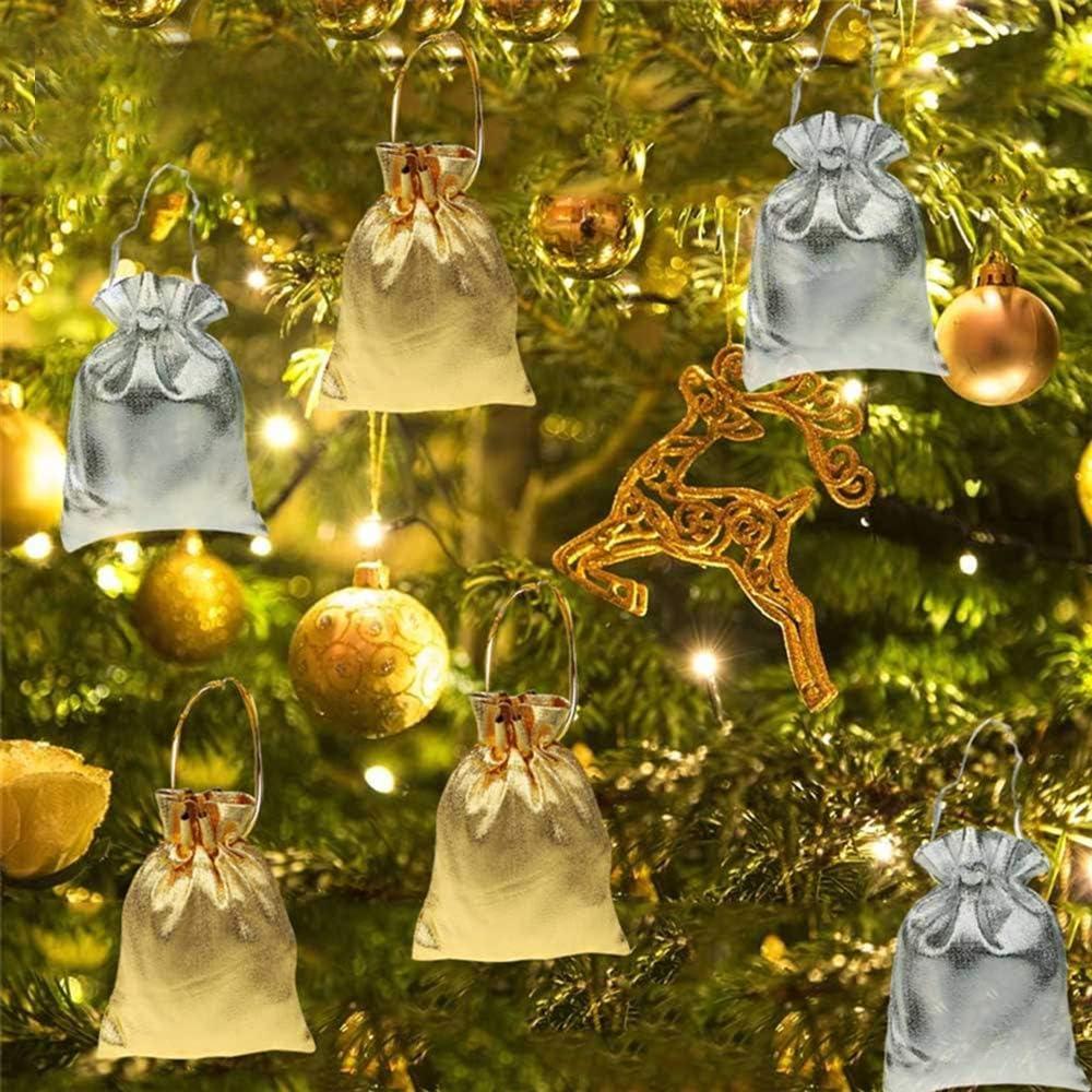 FineInno 100 Pi/èces Sachet Bonbon Pochette Bijoux Sac Noel Cadeau Sac de Cordon Drawstring Pouches Gift Bags F/ête Danniversaire Sacs Bijoux Party Faveur Pochette en Tissu grand 9x12cm