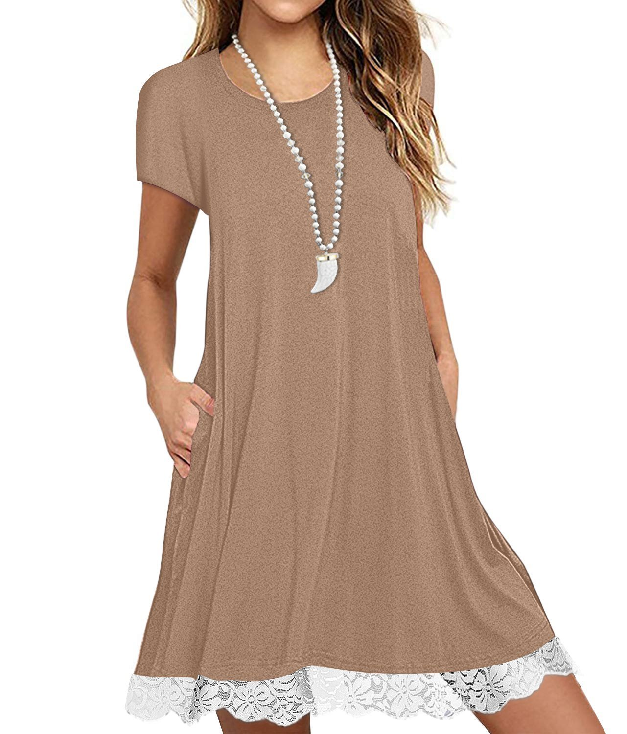 Eanklosco Womens Casual Short Sleeve Plain Pocket V Neck T Shirt Tunic Dress (LightCoffe-2, L)