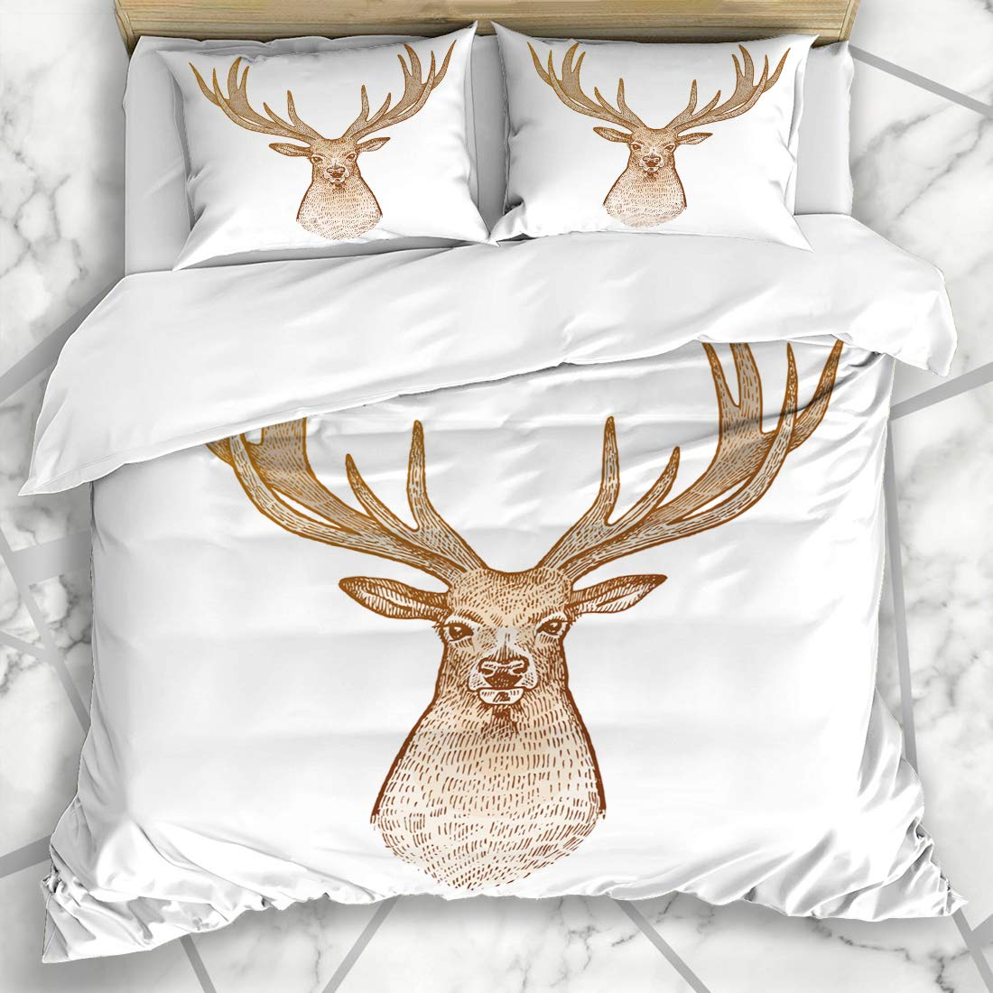 Ahawoso Duvet Cover Sets Queen/Full 90x90 Celebration Hart Deer Isolated On White Head Nature Animals Wildlife Congratulation Signs Symbols Soft Microfiber Decorative Bedroom with 2 Pillow Shams