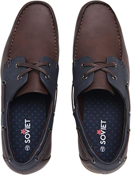 Soviet Mens Classic Boat Shoes Lace Up Comfortable Fit