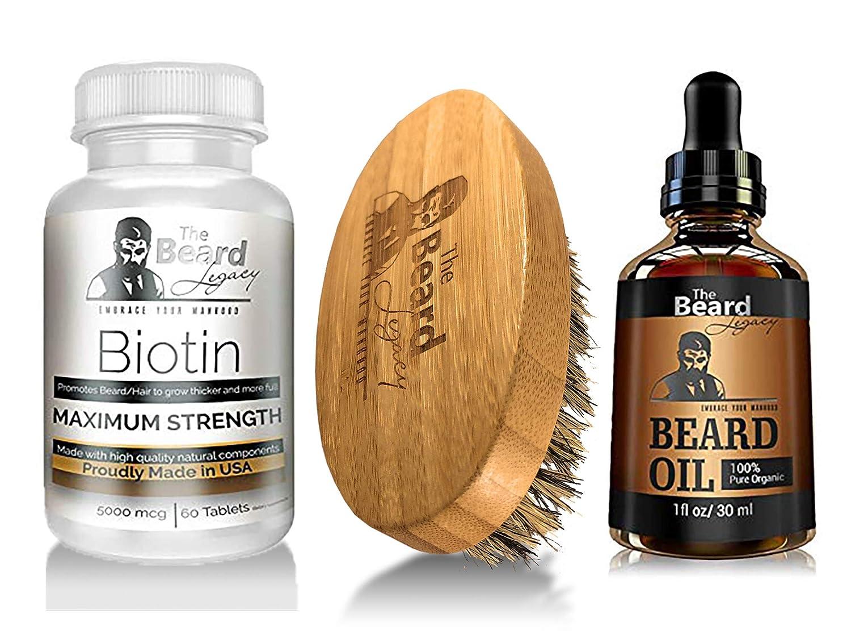 67cc9ef705d Amazon.com: Prime Beard Growth Vitamins Supplement for Men - Beard Brush - Beard  Oil Unscented - Thicker, Fuller, Manlier Hair - Pills with Biotin - for All  ...