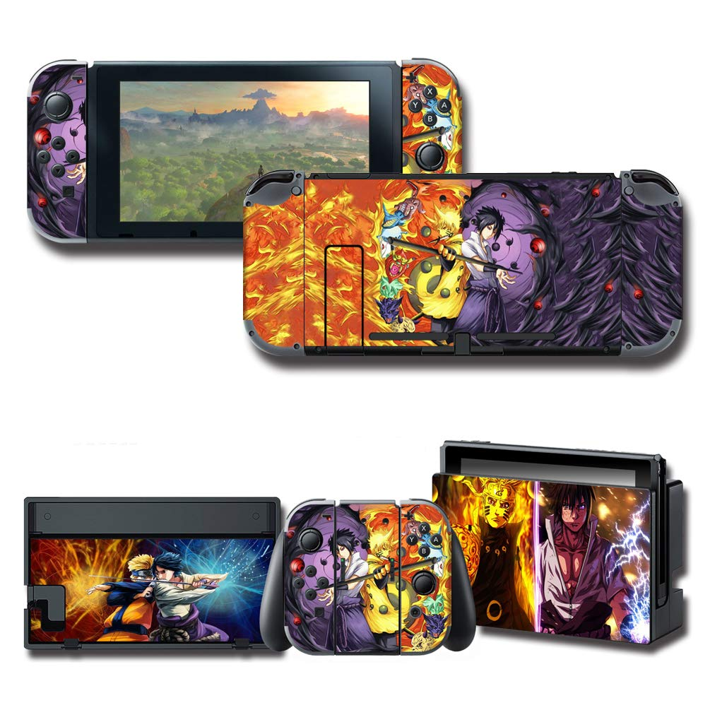 GilGames Vinyl Skin Decal Stickers for Nintendo Switch, Anime Protector Wrap Cover Protective Faceplate Full Set Console Joy-Con Dock