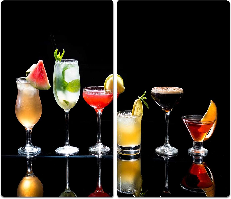 Herdabdeckplatten Ceranfeldabdeckung Spritzschutz 2x30x52 Cocktail Bunt Obst