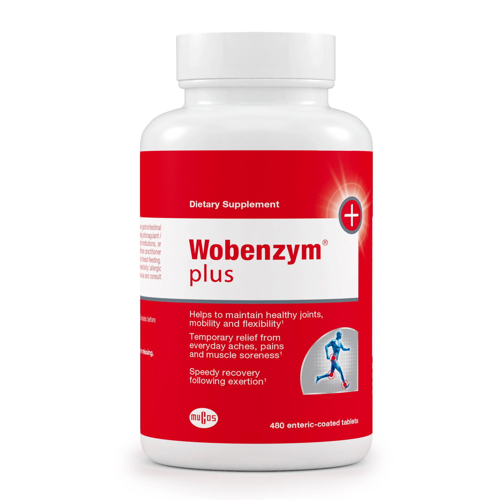 Wobenzym - Wobenzym Plus - Number One Joint Health Pill in Germany†*, Supports Joint Function, Muscles and Recovery after Exertion† - 480 Enteric-Coated Tablets
