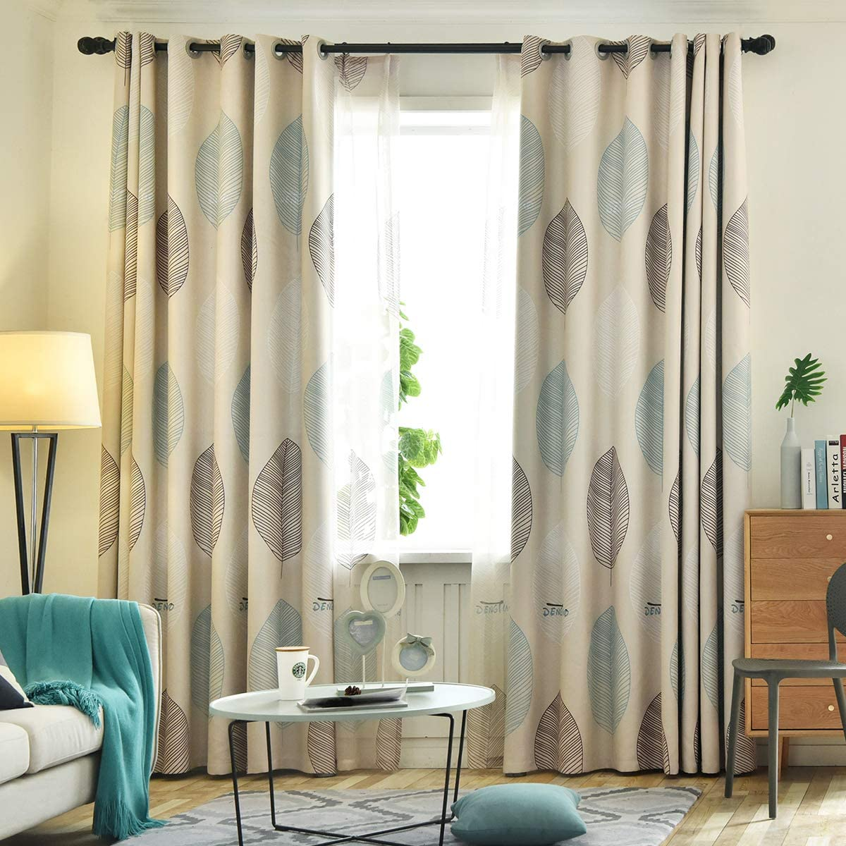 VOGOL Beige Window Curtains 96 Inches Long, Energy Efficient Leaf Curtain for Bedroom Living Room, 52X96, 2 Panels