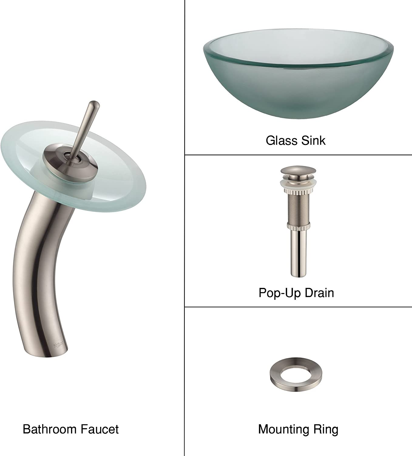 Kraus C-GV-101FR-14-12mm-10SN Frosted 14 Glass Vessel Sink and Waterfall Faucet Satin Nickel
