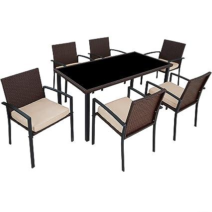 Tectake 800663 Poly Rattan Gartenmobel Gartengarnitur Essgruppe 6 Stuhle 1 Tisch Leicht Und Strapazierfahig Mit Edelstahlschrauben Diverse