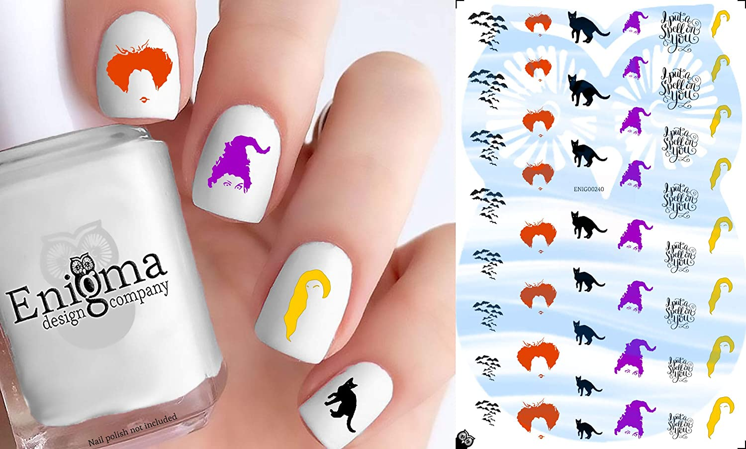 Hocus Pocus Nail Decals (Set of 48 | Clear Water-slide) Enigma Design Company ENIG00241