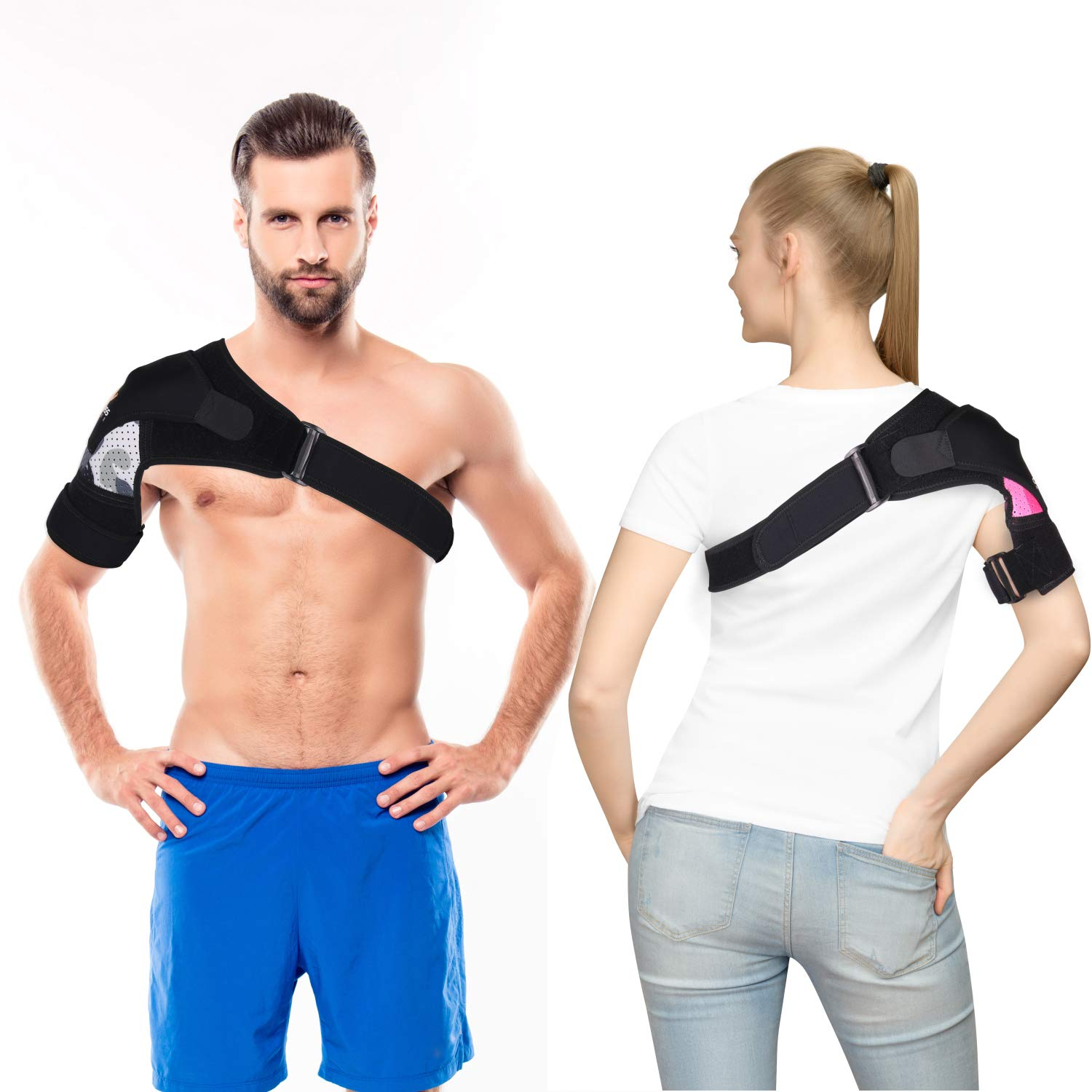 Shoulder Brace with Compression Pad for Men,Women,Right,Left,Adjustable Breathable Neoprene Shoulder Support for Rotator Cuff, Dislocated AC Joint,Bursitis (Pink S-M) by Cleviss