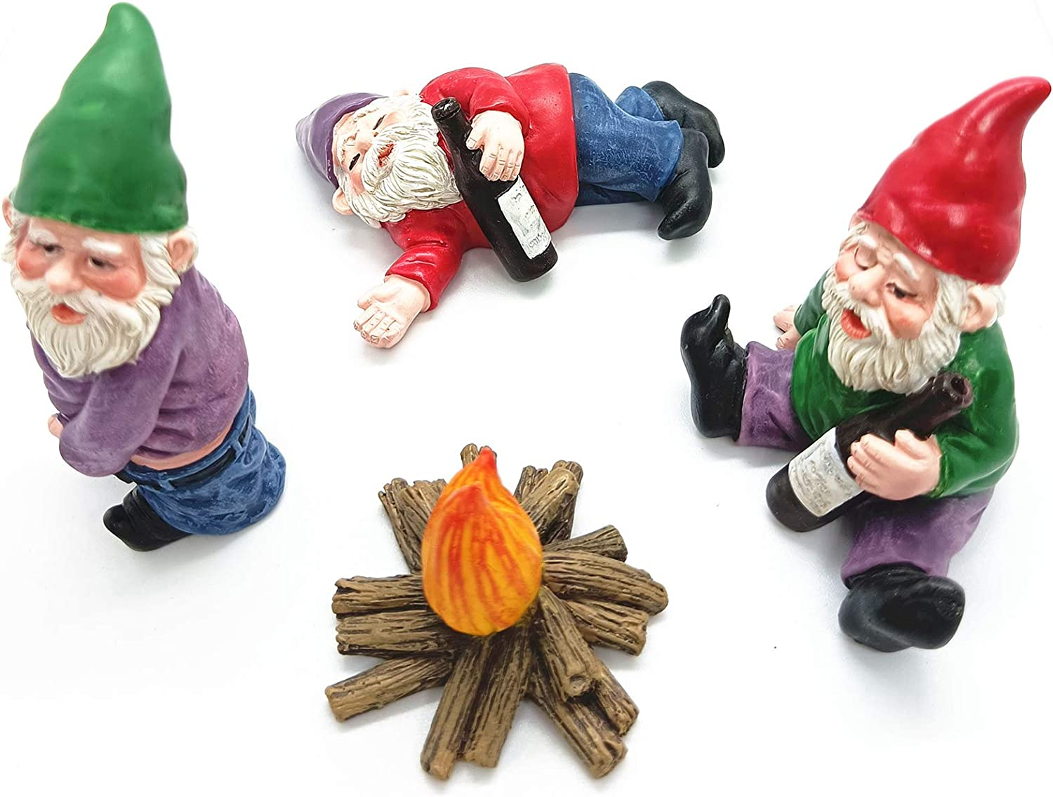 Fairy Garden Accessories,Say Hello to My Little Friend Gnome-4pack Drunk Gnome Kit for Fairy Garden or Home Decoration