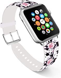 Ecute Compatible with Apple Watch Band 44mm 42mm, Soft Leather Band Strap Compatible with iWatch Series 6/5/4/3/2/1 44mm 42mm - Rose with White Skulls