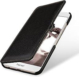 StilGut Book Type avec Clip, Housse en Cuir pour Huawei Honor 8 Pro. Etui de Protection à Ouverture latérale avec Fermeture clipsée, Noir