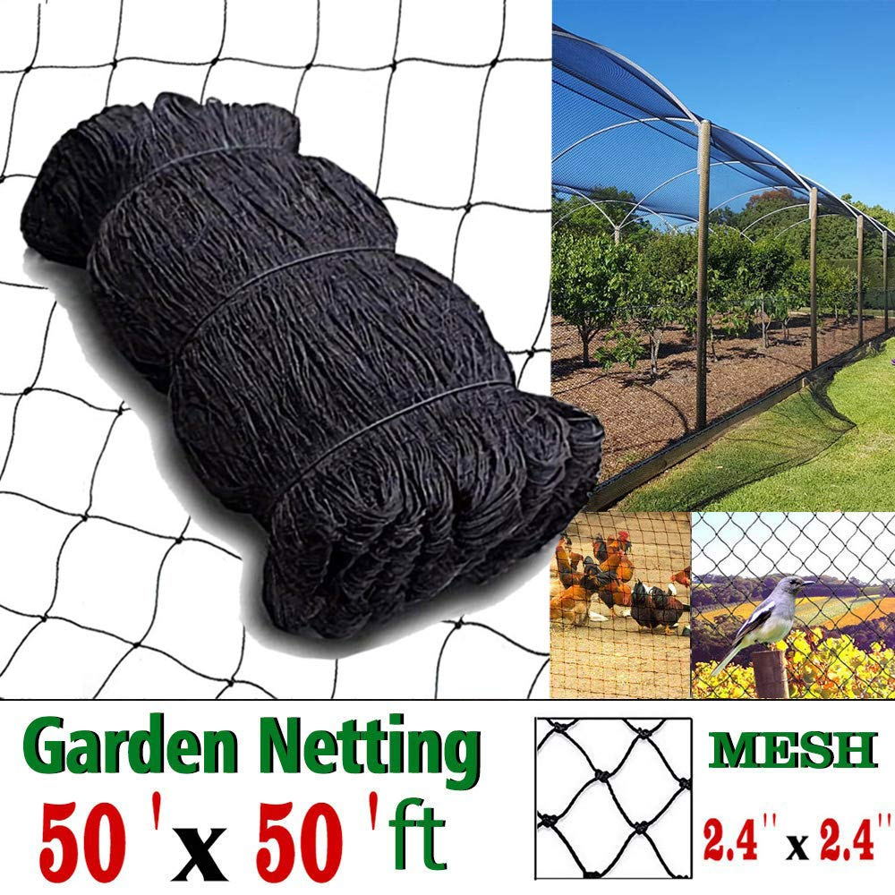 COMPATH Bird Netting Heavy Duty Garden Net Protect Plants and Fruit Trees Protective Netting 2.4 Square Mesh Size 50 50