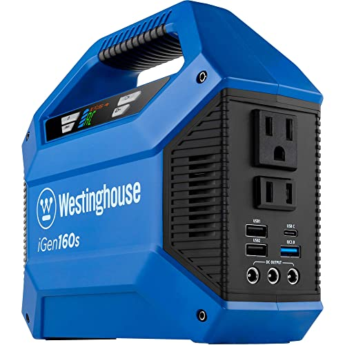 Westinghouse iGen160s Portable Power Station 155Wh Backup Lithium Battery, 110V 100W AC Outlets, Solar Generator Solar Panel Not Included