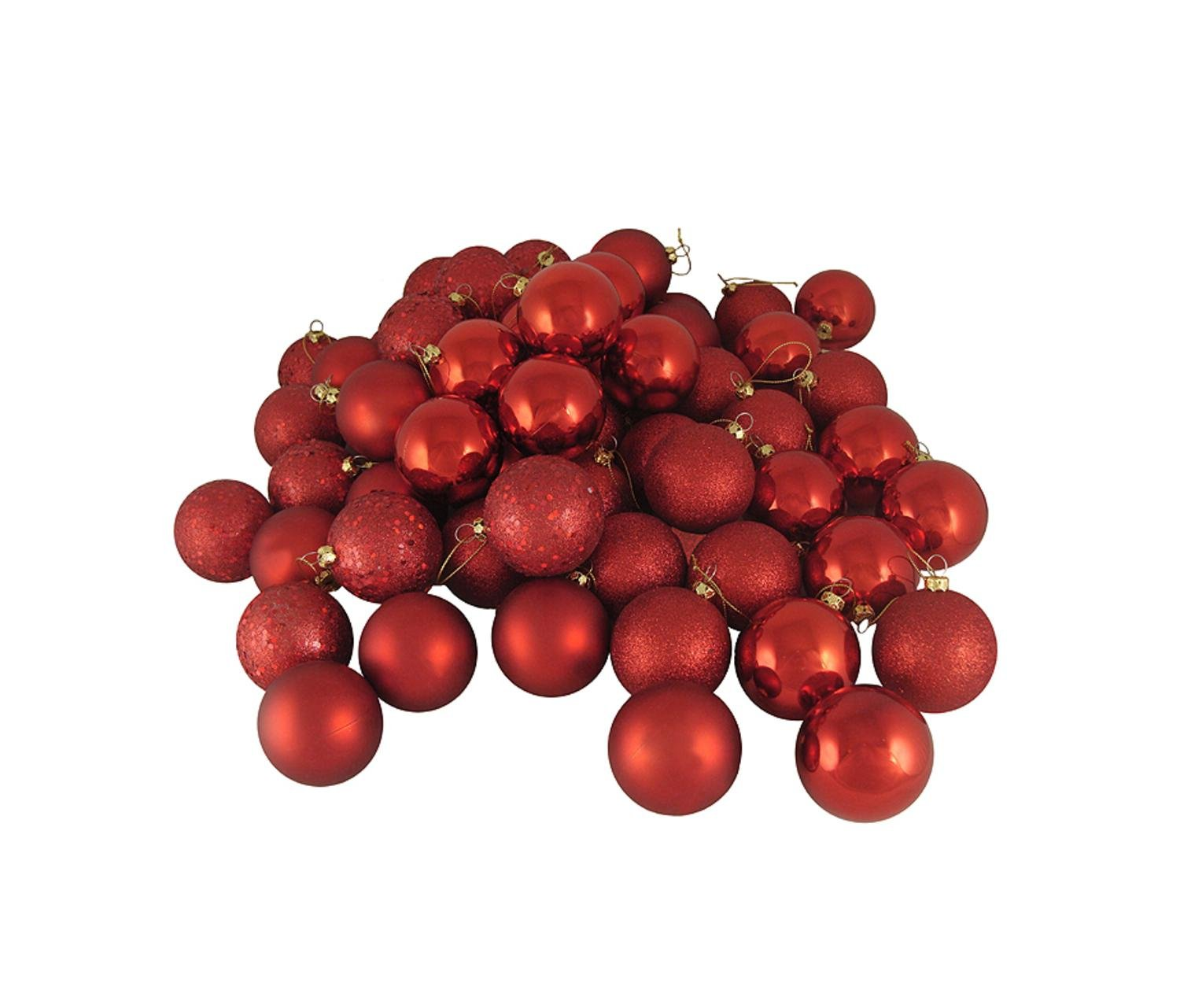 Northlight 96ct Red Hot 4-Finish Shatterproof Christmas Ball Ornaments 1.5'' (40mm)