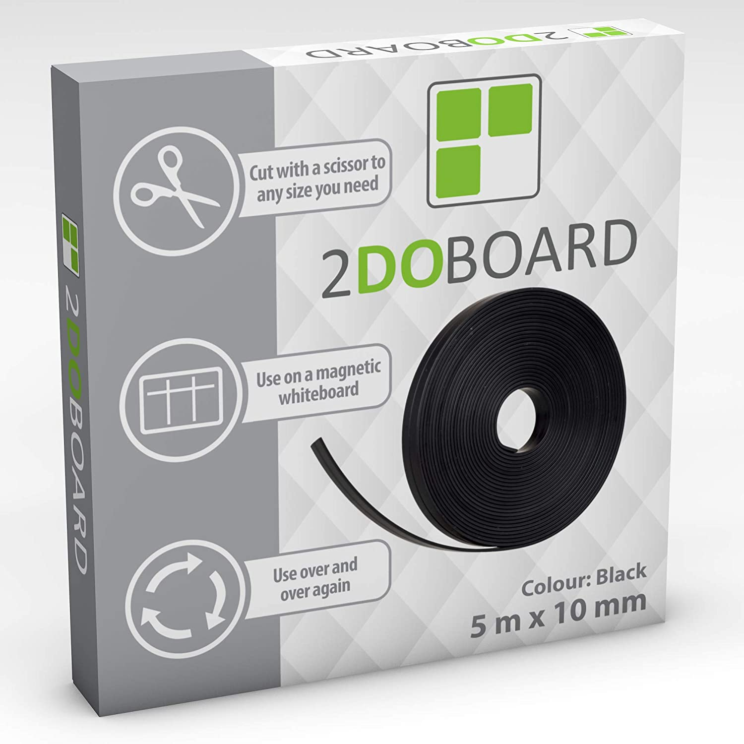 Magnetic Whiteboard Tape - Make Moveable Grids at all Magnetic Surfaces like Whiteboards and Fridges 10 mm x 5 m Black 0,4 x 197 Inch