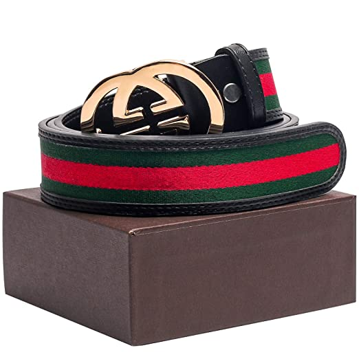 Gold/Silver/Black Buckle Black Leather Unisex Fashion Belt For Mens Pants Jeans Shorts ~ 3.8cm Belt Width by Dsane