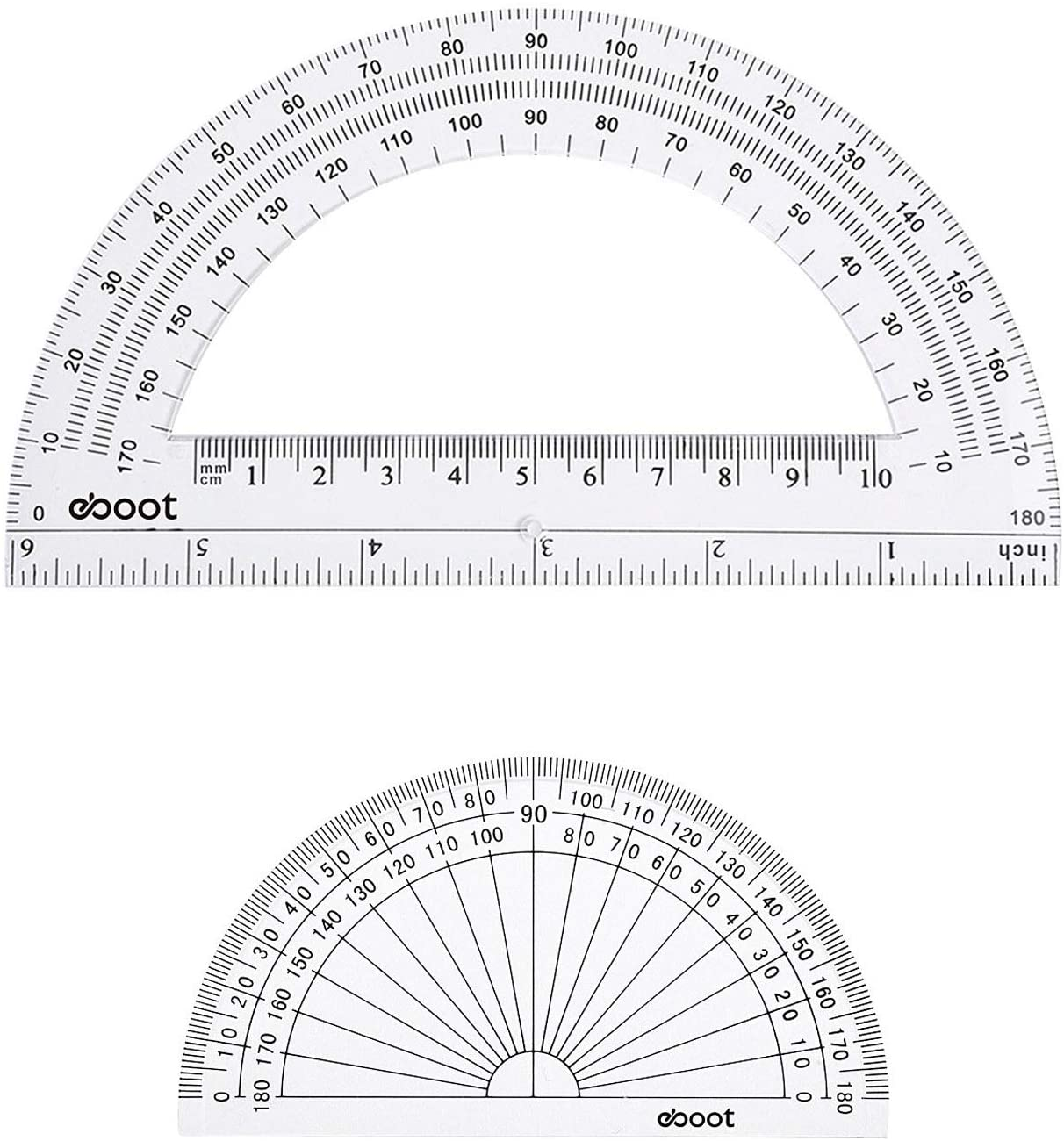 eBoot Plastic Protractor 180 Degree, 4 Inch and 6 Inch, Clear, 2 Pieces : Office Products