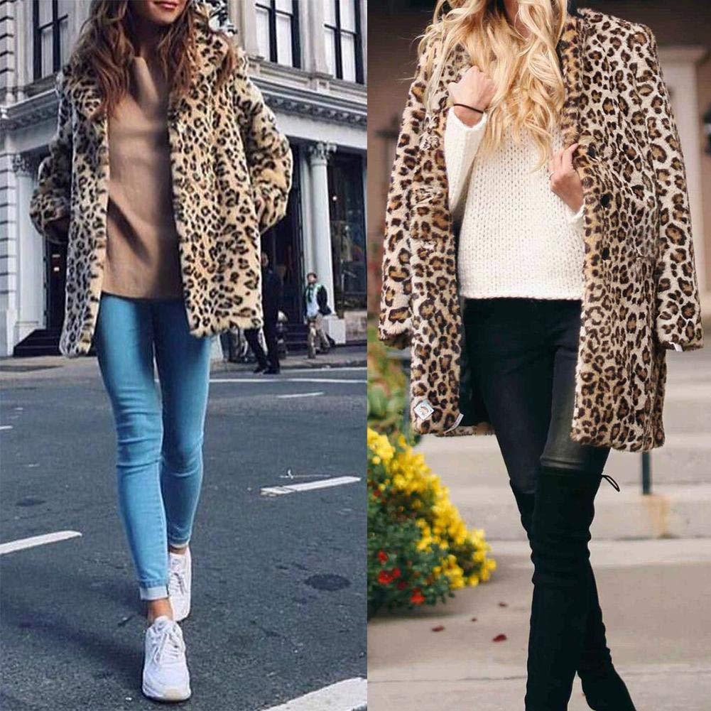 Leopard Pring Coat Fashion Faux Fur Coat Biback Winter Fashionable Coat