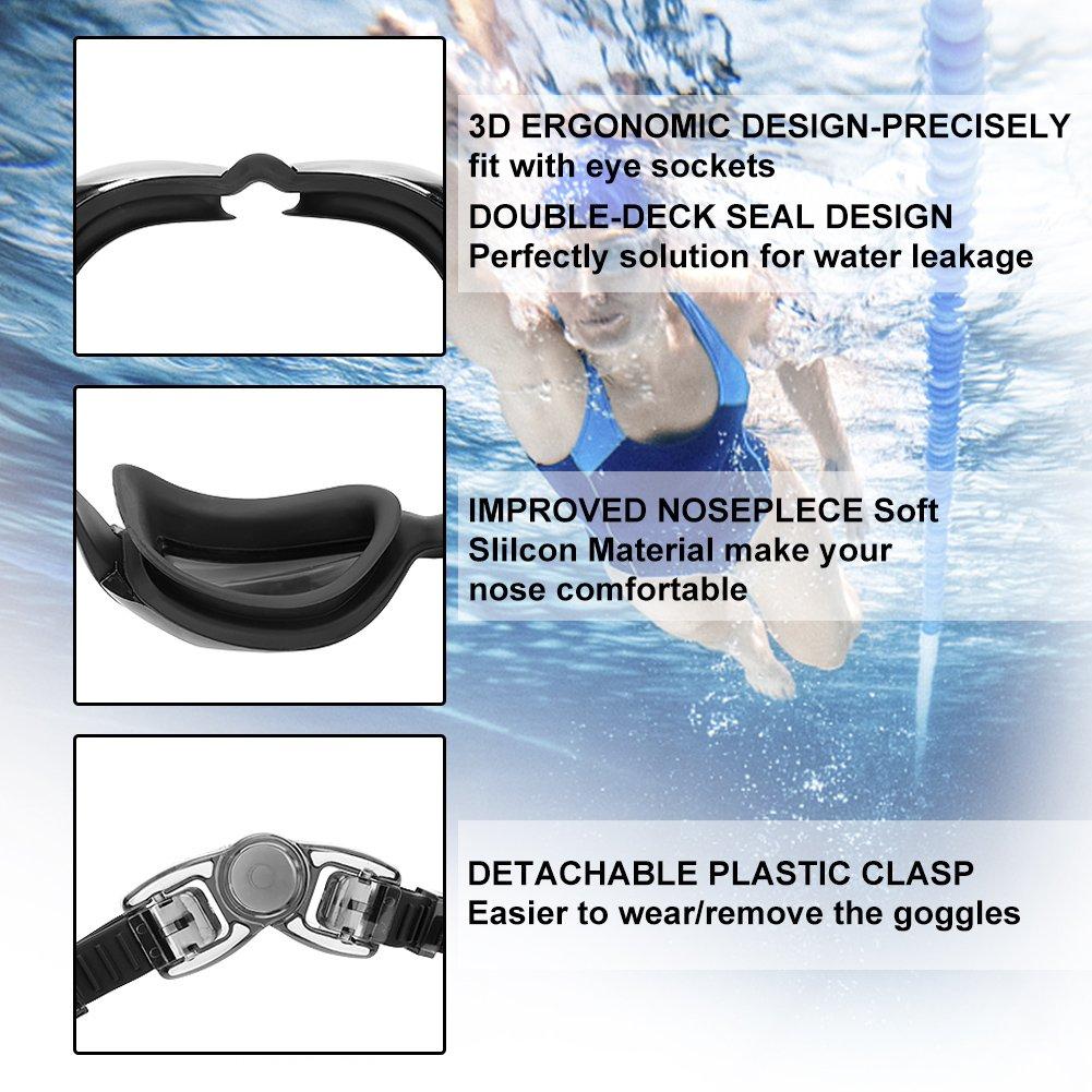 HUNDA Gafas de Natación Profesional Anti Niebla y Protección UV Amplia Visión para Hombres,Mujeres,Niños