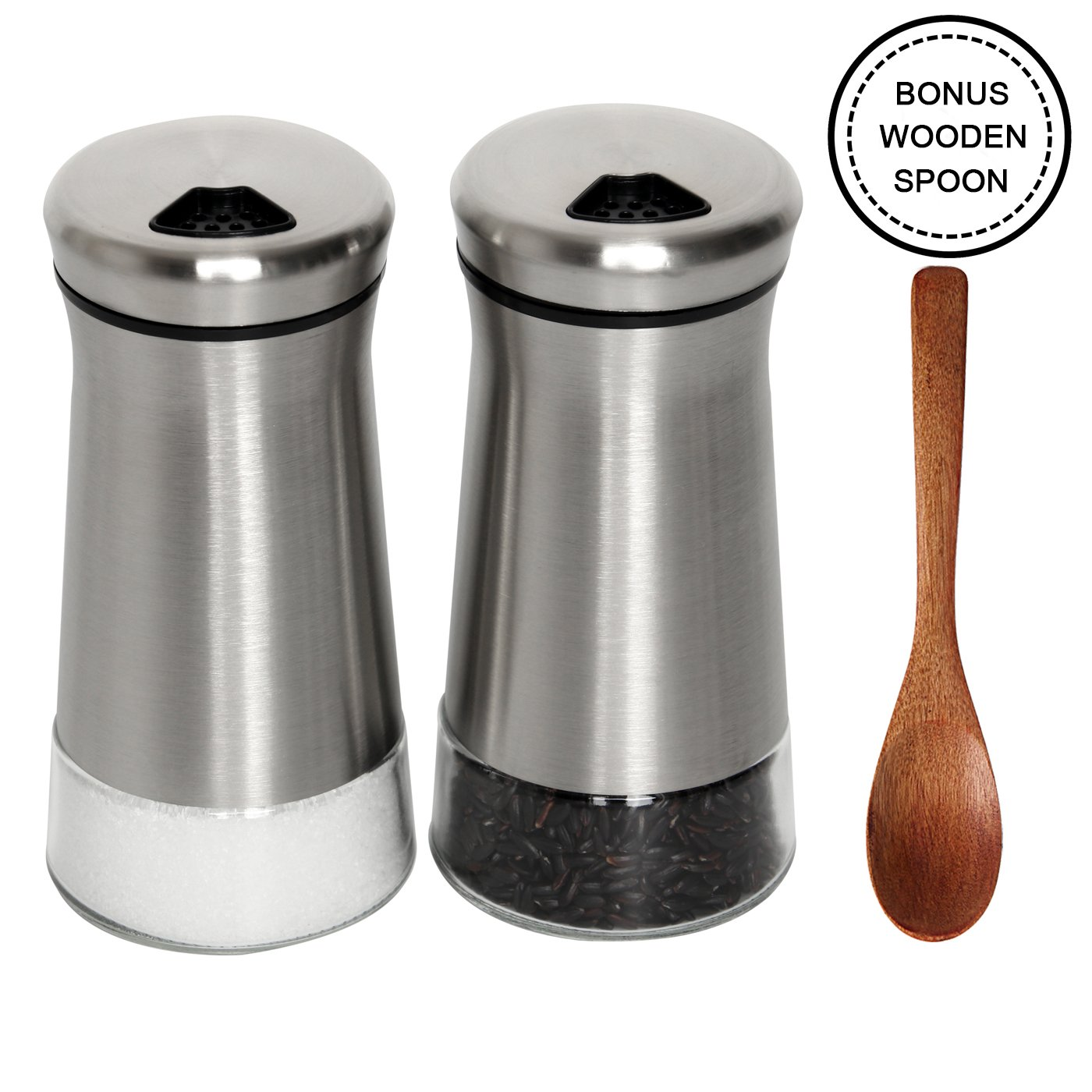 SILUKER Salt and Pepper Shakers Set with Adjustable Pour Holes - High Grade Stainless Steel with Glass Bottom - Salt Shaker + Bonus Wooden Spoon(Silver)