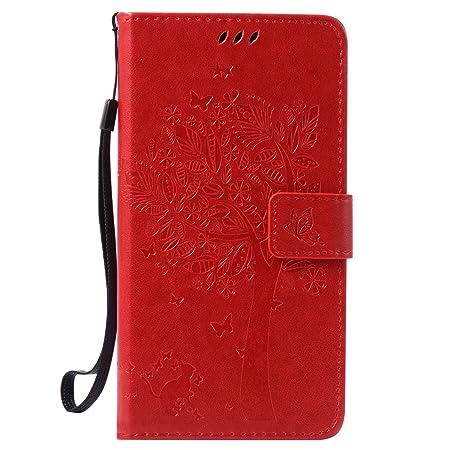 Nancen Tasche Hülle für Wiko Pulp Fab 4G (5,5 Zoll) Flip Schutzhülle Zubehör Lederhülle mit Silikon Back Cover PU Leder Handy