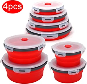 Collapsible Bowls For Camping Rv Kitchen Accessories - 4PC Round Silicone Food Storage Containers Refrigerator Organizer With Lid - Bpa Free, Safe For Microwave Dishwasher Freezer, Motorhome Solutions