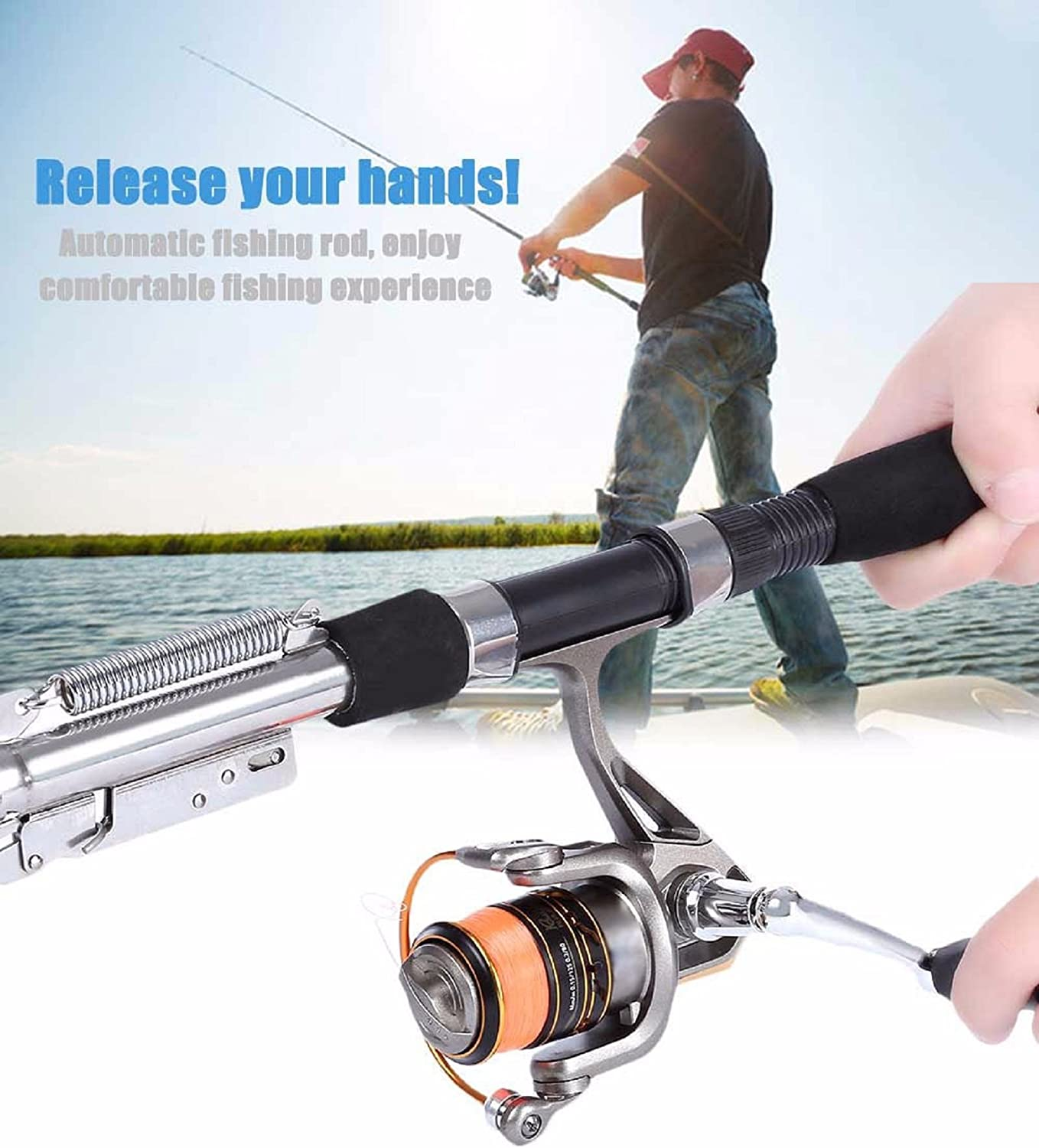 Stainless Steel Automatic Fishing Rod Spinning Telescopic Spring Sea River Lake