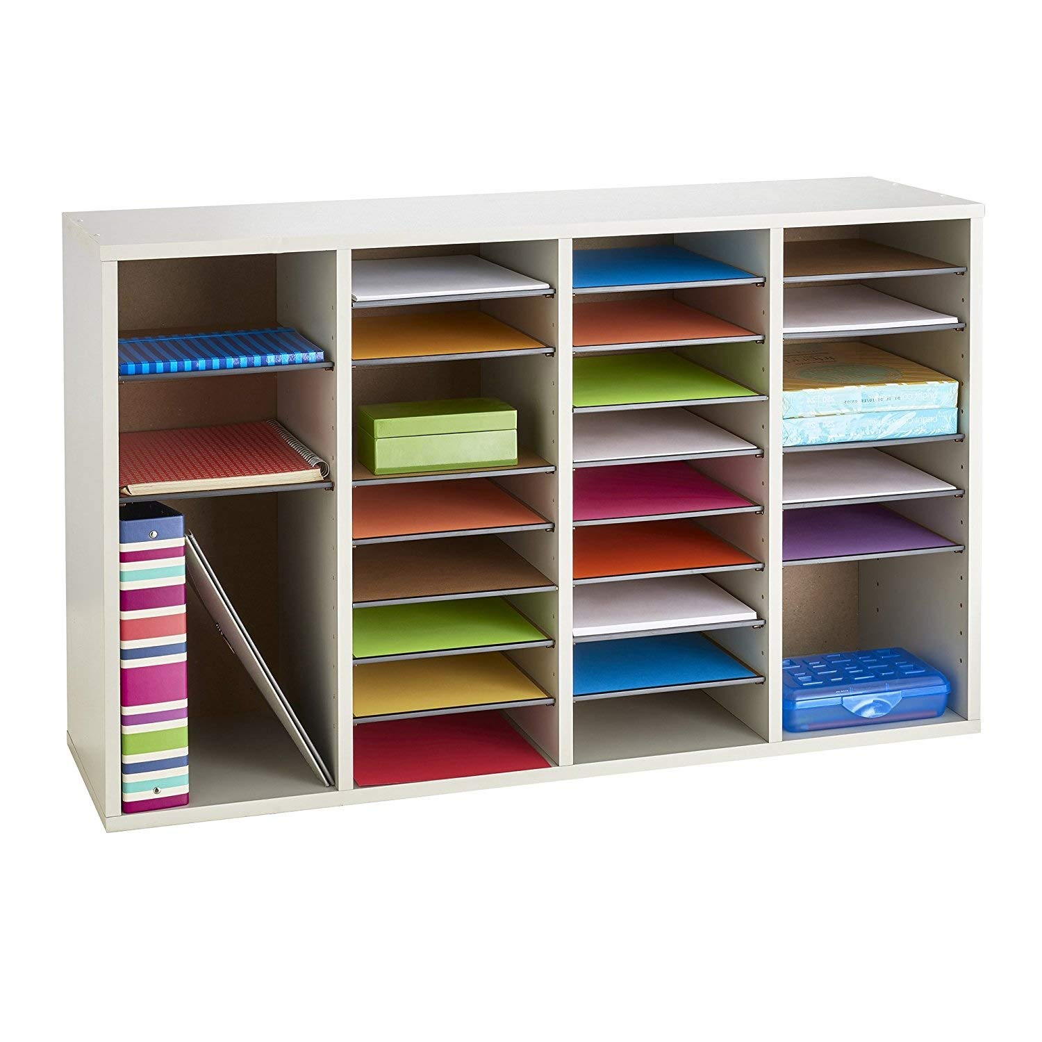 Safco Products Wood Adjustable Literature Organizer, 36 Compartment 9424GR, Gray, Durable Construction, Removable Shelves, Stackable by Safco Products