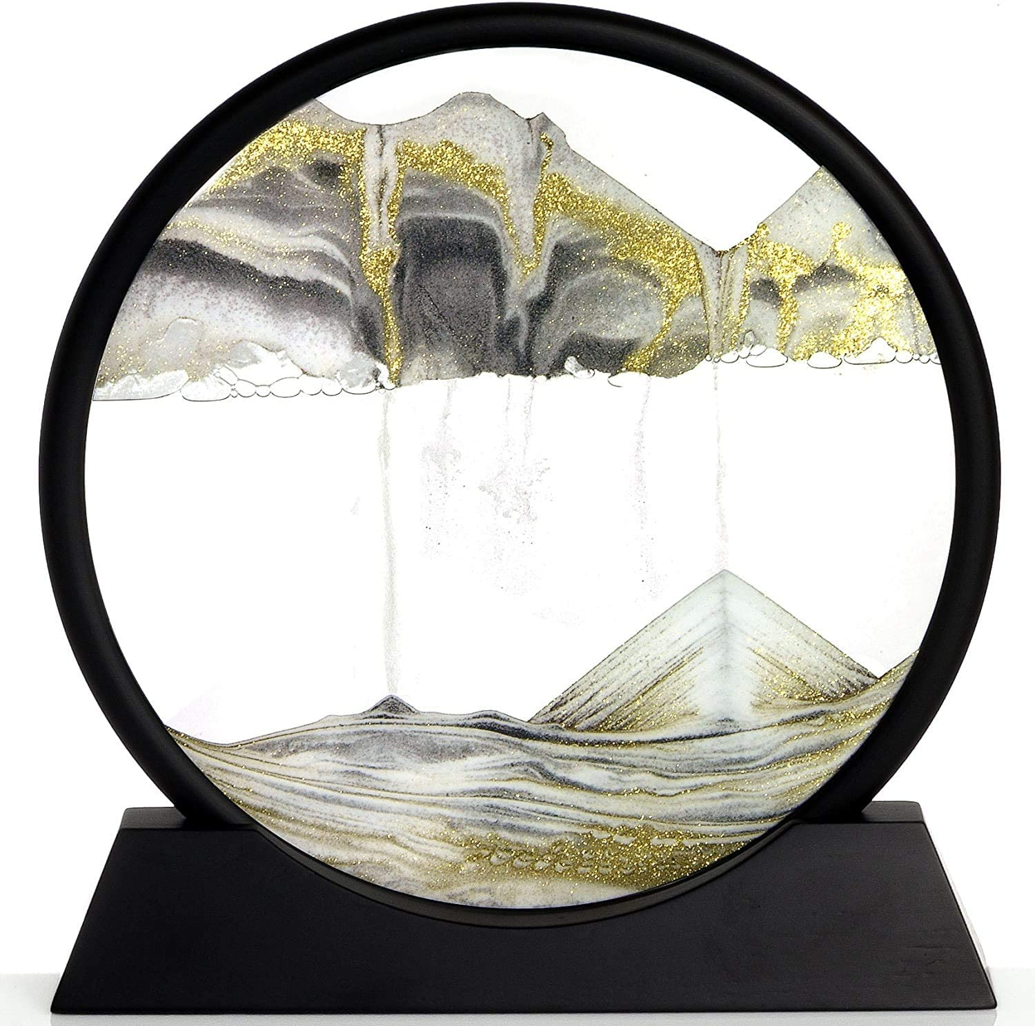 LZHNB Dynamic Sand Picture,Moving Sand Art Picture Round Glass 3D Deep Sea Sandscape in Motion Display (Black and white)