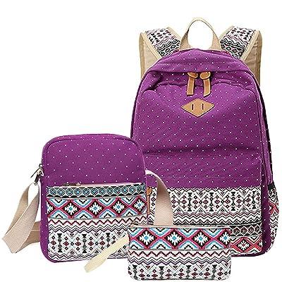 outlet Polka Dot Printing Backpacks - TOOGOO(R)3 pcs/set Polka Dot Printing Women Backpack Cute Lightweight Canvas Bookbags Middle High School Bags for Teenage Girls, Purple