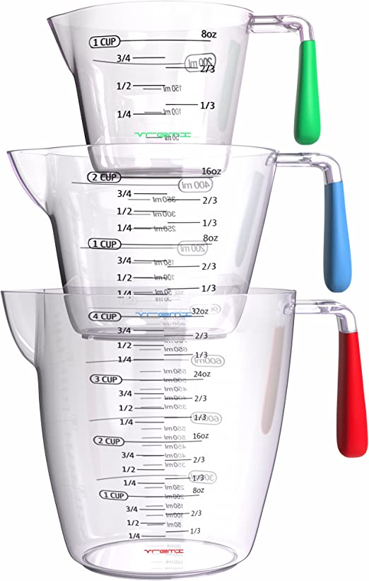 Amazon.com: Juego de 3 tazas dosificadoras de plá ...