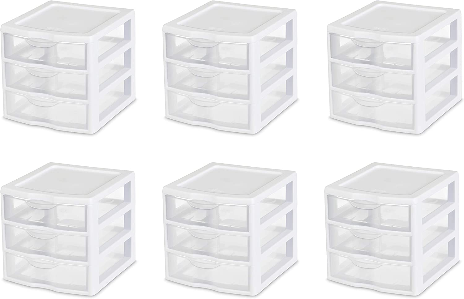 White Frame with Clear Drawers 6-Pack 2-PACK 20738006 Small 3 Drawer Unit