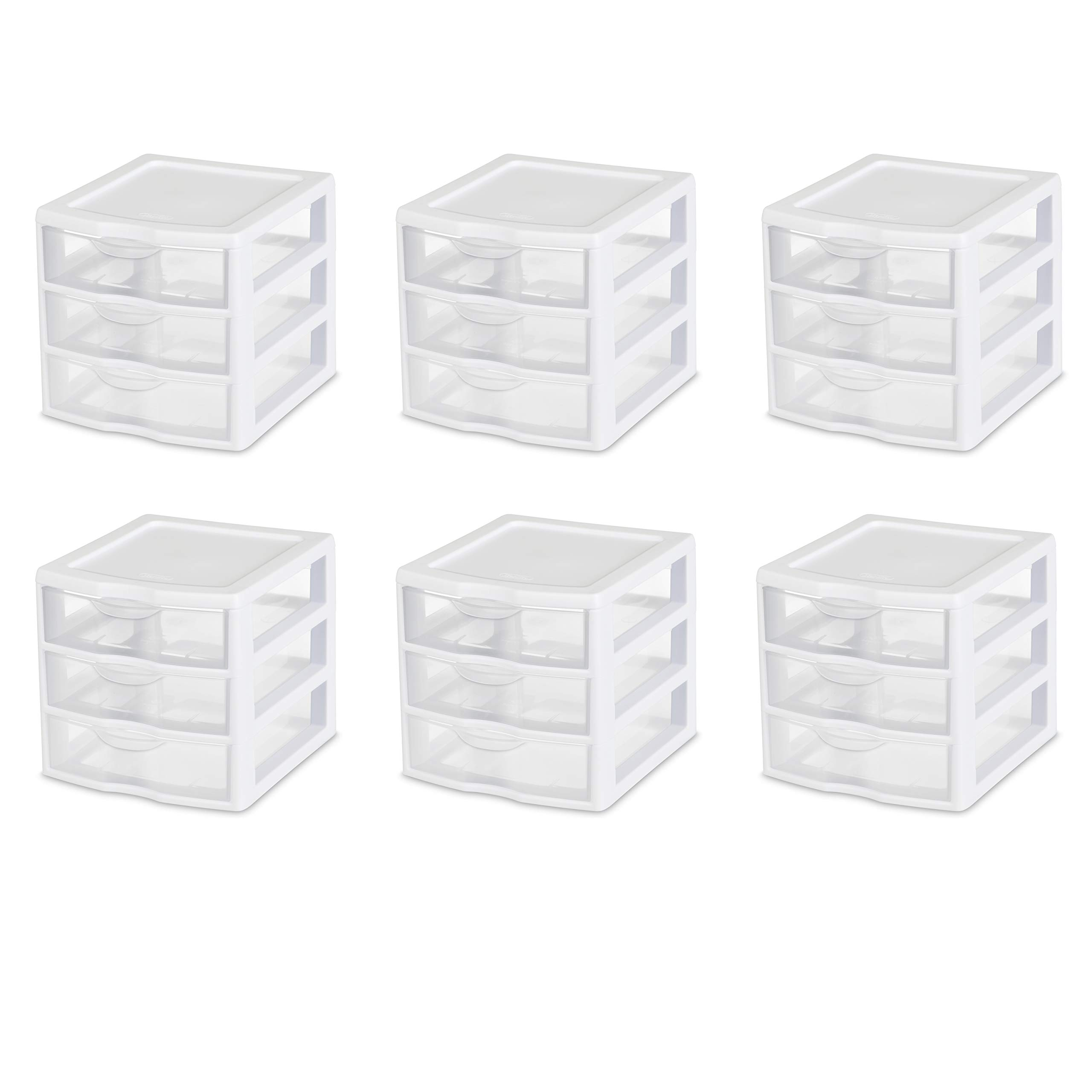 Sterilite 20738006 Small 3 Drawer Unit, White Frame with Clear Drawers, 6-Pack by STERILITE