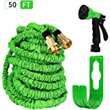 HBlife 50 ft Expandable Lawn Garden Water Hose with 8 Spray Pattern Nozzle - Triple Latex Core, Solid Metal Ends