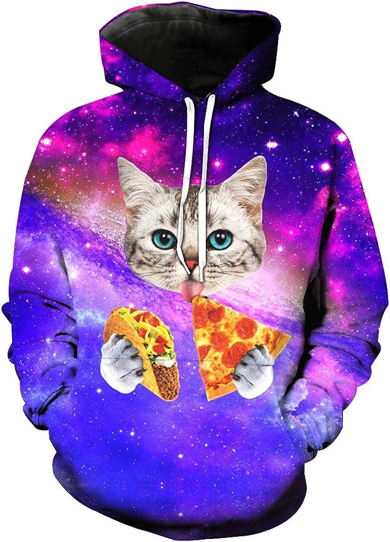 Unisex 3D Printing Sky Star Cat Pattern Animal Thin Slim Stylish Hoodies