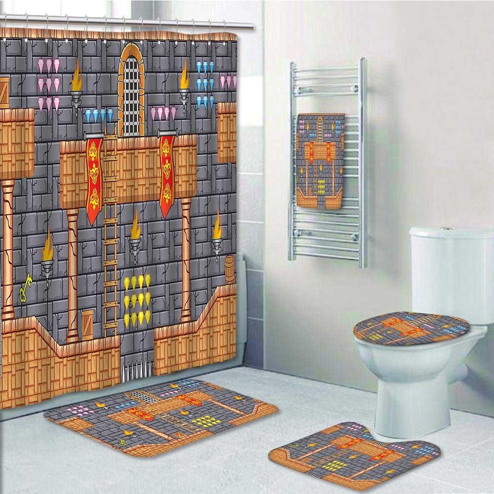 Printsonne 5-piece Bathroom Set-Includes Shower Curtain Liner, Electronic Super Video Game Background Pixel Boys Grey GingerDecorate the bathroom(Large size)