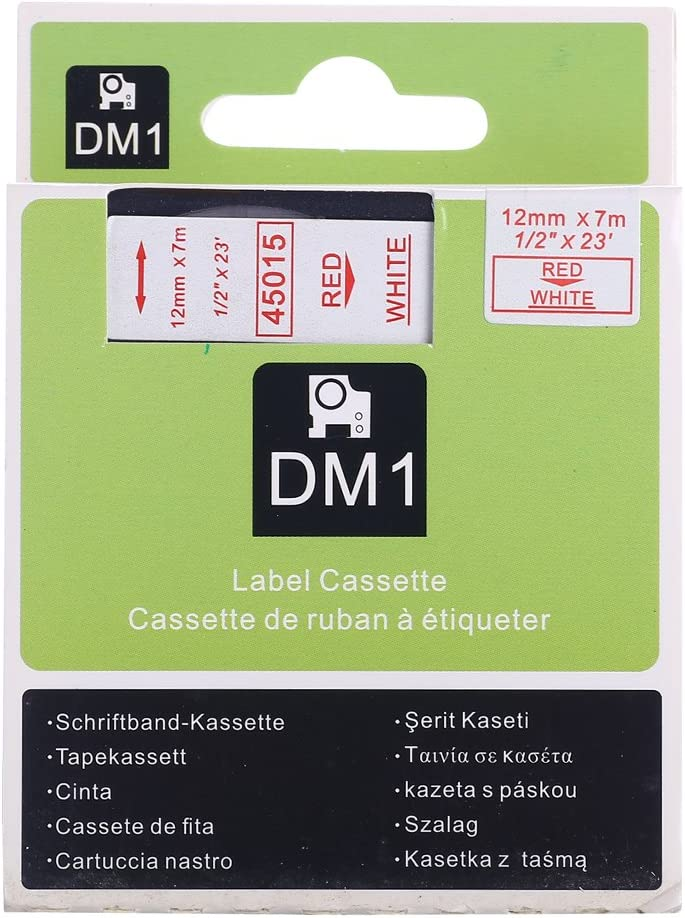 Great Quality Gold on Black 12mm Standard Labelling Compatible For DYMO D1 45024 LabelManager 1//2 Label Tape