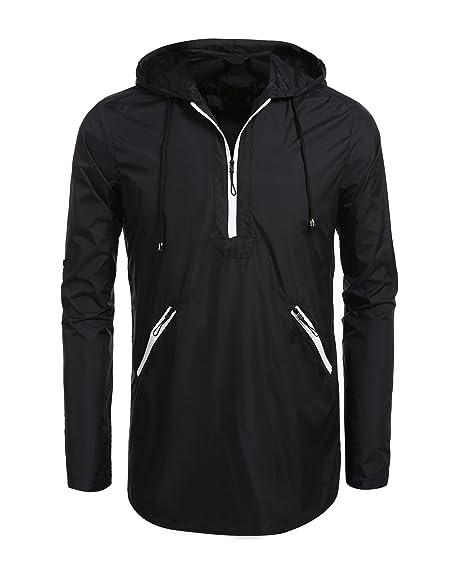 Bifast Men Lightweight Drawstring Hooded Casual Pullover Jacket ...