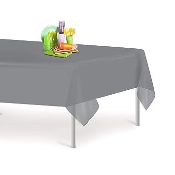 Amazon Com Silver 6 Pack Premium Disposable Plastic Tablecloth 54
