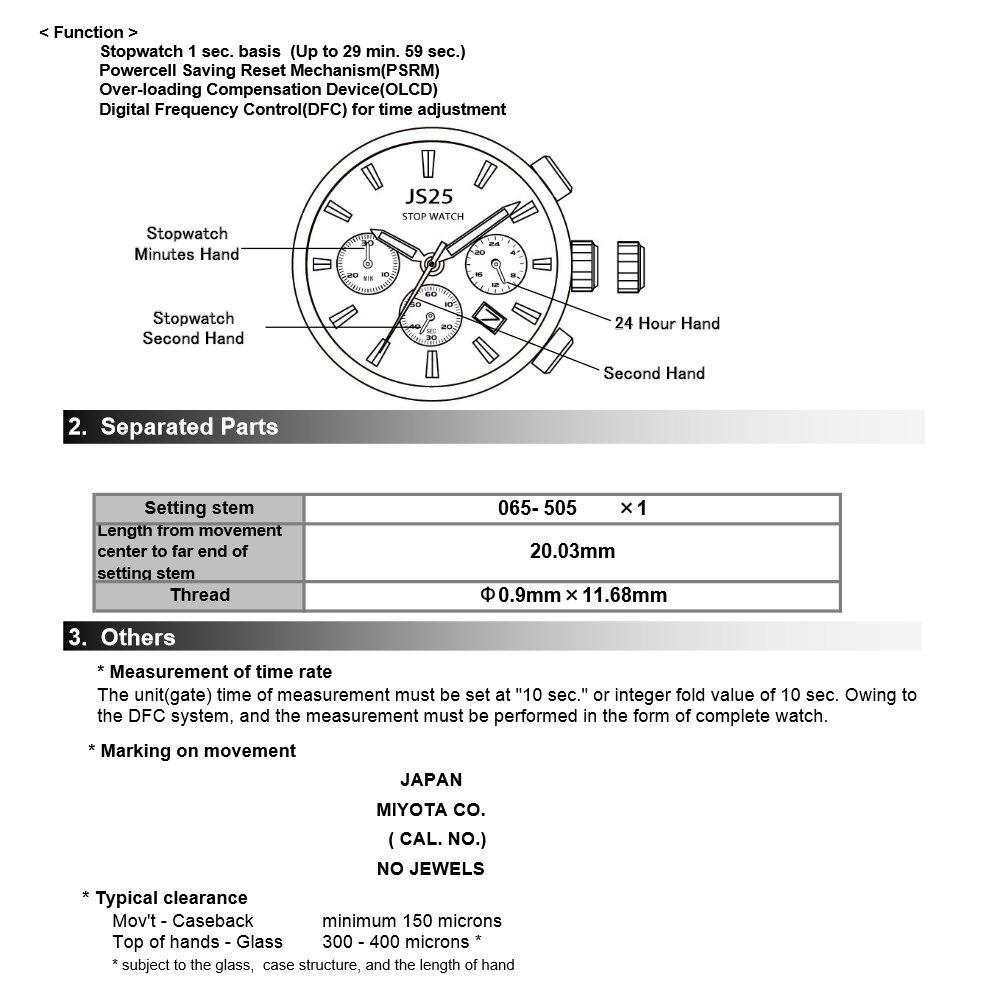 Movimiento Miyota Reloj de cuarzo JS25 con fecha ajuste de la batería tallo incluidos: Amazon.es: Relojes