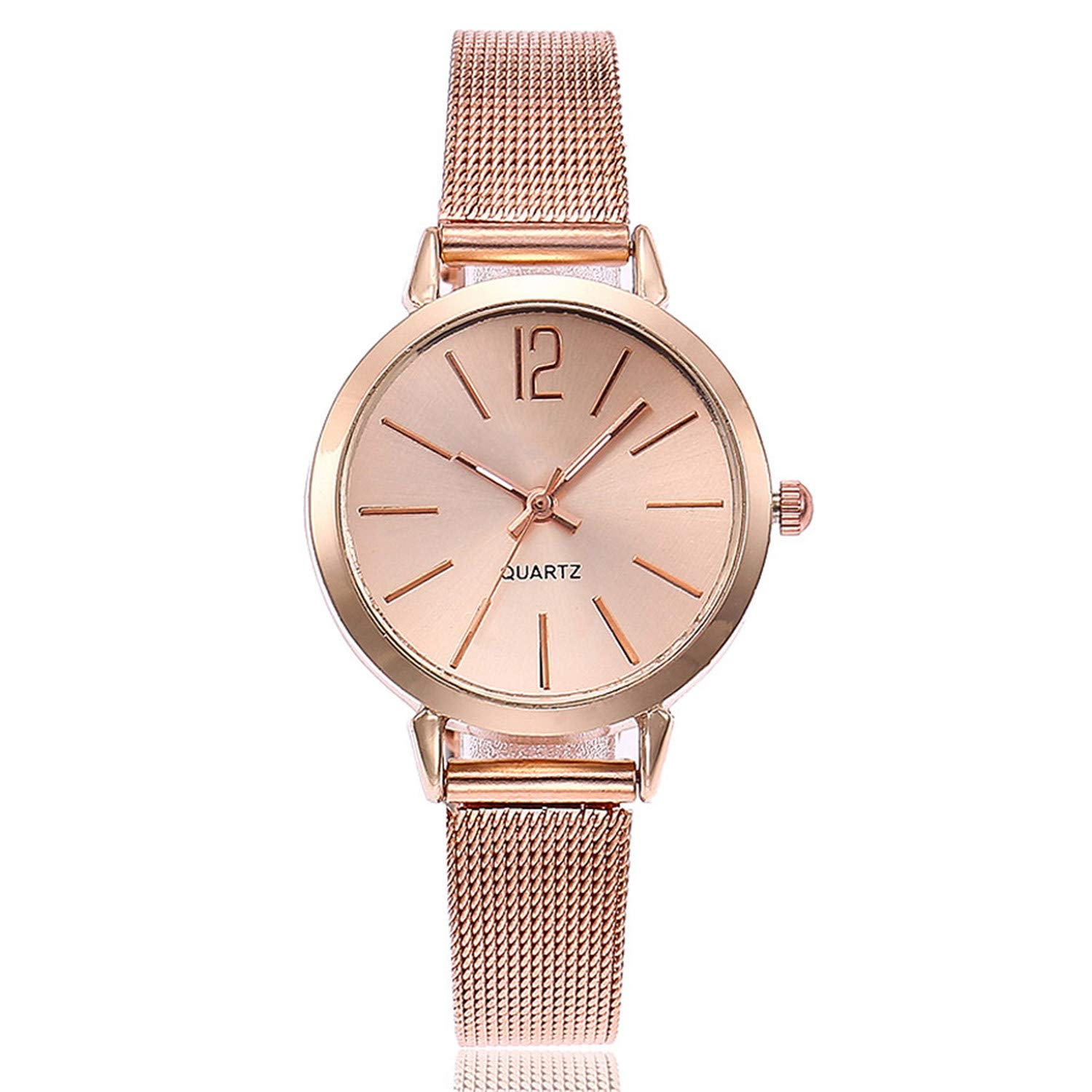 Amazon.com : Gold Sliver Mesh Stainless Steel Watches Simple ...