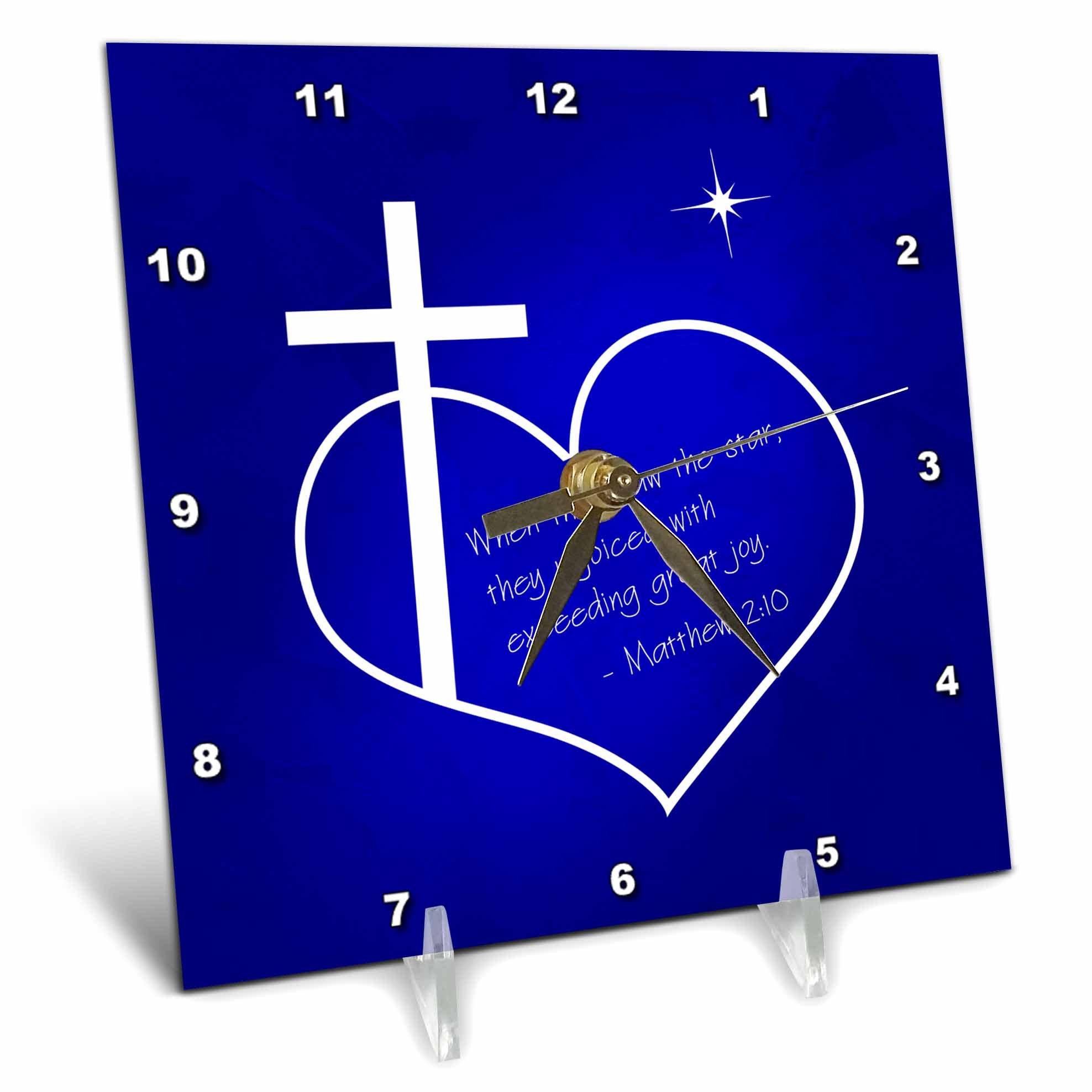 3dRose Cross, Heart, Star, Bible Quote Christian Christmas Desk Clock, 6'' x 6'', Blue