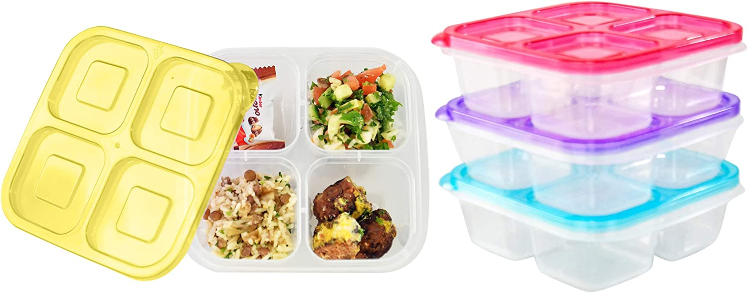 """HOME-X Meal Prep Containers, Food Containers with Sections, Reusable Lunch Containers, Meal Prepping with Colorful Lids, Set of 4, 6 ½"""" L x 6"""