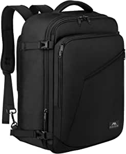 Matein Carry on Backpack, Extra Large Travel Backpack Expandable Flight Approved Weekender Bag for Men & Women, Water Resistant Lightweight Luggage Daypack for Airplane 40L, Black