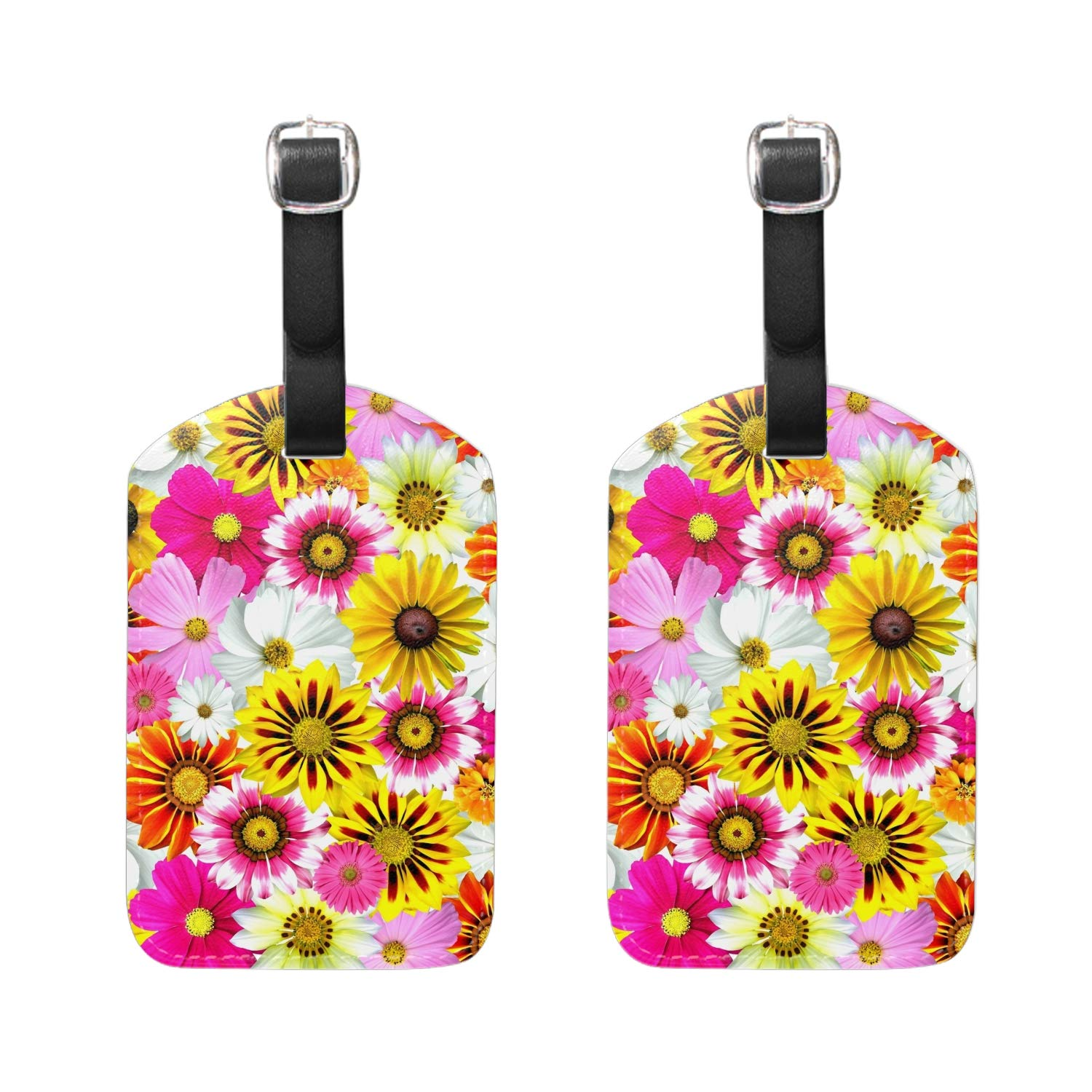 Golden Sunflowers Luggage Tag Travel ID Label Leather for Baggage Suitcase 2 Piece