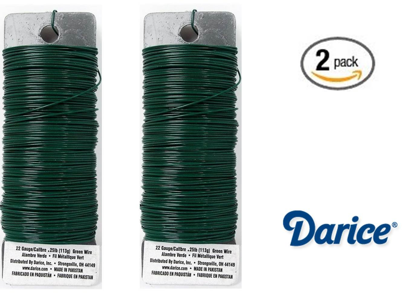 Amazon.com: Set of 2 Darice Paddle Wire, 22-Gauge, Green
